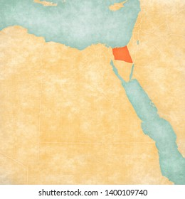 North Sinai Governorate on the map of Egypt in soft grunge and vintage style, like old paper with watercolor painting.