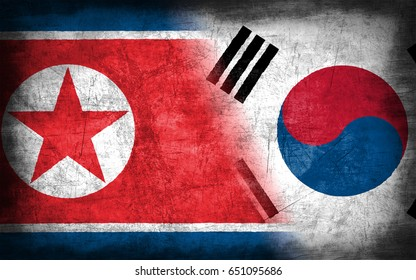 North and South Korea flag, with grunge metal texture