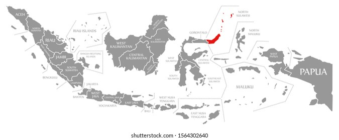 North Sulawesi red highlighted in map of Indonesia