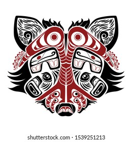 north west native american racoon black and red   art elements white background