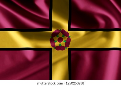 Northamptonshire 3D waving flag illustration. Texture can be used as background.