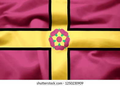 Northamptonshire modern and realistic closeup 3D flag illustration. Perfect for background or texture purposes.