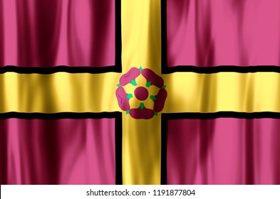 Northamptonshire stylish waving and closeup flag illustration. Perfect for background or texture purposes.