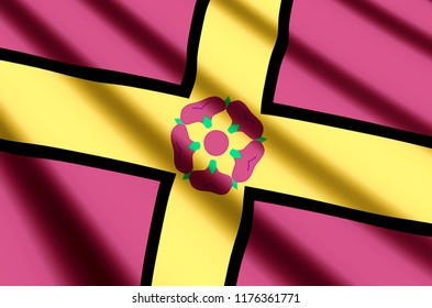 Northamptonshire waving and closeup flag illustration. Perfect for background or texture purposes.
