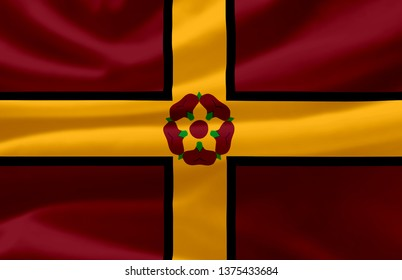 Northamptonshire waving flag illustration. Regions of England and United Kingdom. Perfect for background and texture usage.
