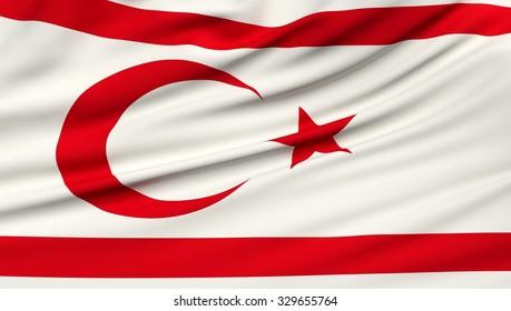 Northern Cyprus Flag. 3d illustration