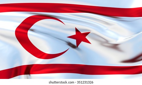 Northern Cyprus Flag. 3d illustration
