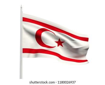Northern Cyprus flag floating in the wind with a White sky background. 3D illustration.