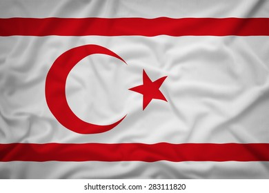 Northern Cyprus flag on the fabric texture background,Vintage style