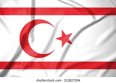 Northern Cyprus flag on soft and smooth silk texture