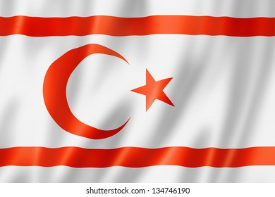 Northern Cyprus flag, three dimensional render, satin texture