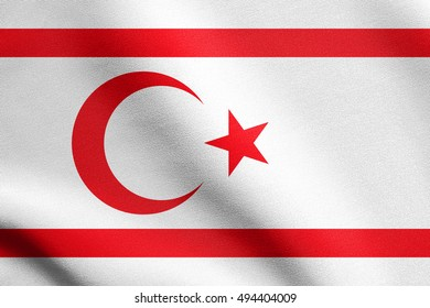 Northern Cyprus national official flag. TRNC patriotic symbol, banner, element, background. Correct size, colors. Flag of Turkish Republic of Northern Cyprus waving in the wind detailed fabric texture