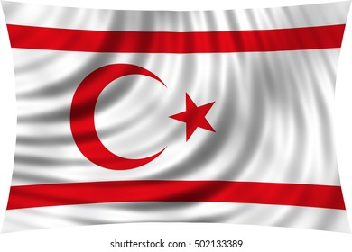Northern Cyprus national official flag. TRNC patriotic symbol, banner, element, background. Correct colors. Flag of Turkish Republic of Northern Cyprus waving, isolated on white, 3d illustration