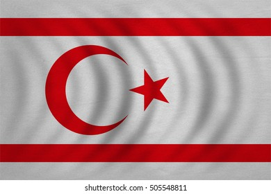 Northern Cyprus national official flag. TRNC patriotic symbol, banner, element, background. Correct colors. Flag of Turkish Republic of Northern Cyprus wavy fabric texture, accurate size, illustration
