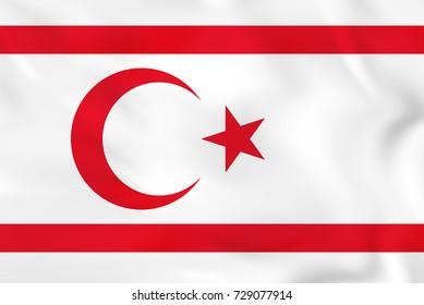 Northern Cyprus waving flag. Northern Cyprus national flag background texture. Raster copy.