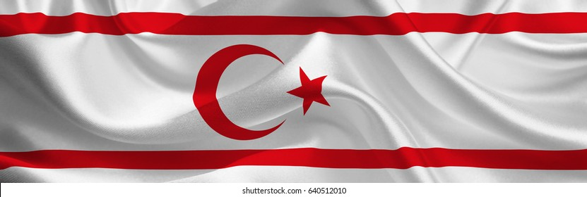 Northern Cyprus waving flag wide format Turkish Cyprus