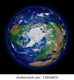 Northern hemisphere on Earth viewed from above north pole isolated on black background. High detail planet surface. Elements of this image furnished by NASA.