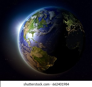 Northern Hemisphere with sun setting below the horizon of planet Earth in space. 3D illustration with detailed planet surface. Elements of this image furnished by NASA.
