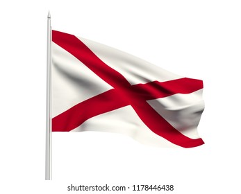 Northern Ireland flag floating in the wind with a White sky background. 3D illustration.