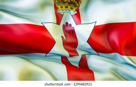 Northern Ireland flag. Flag of Northern Ireland picture background. 3D Waving flag design. Red, white and green flag. national symbol of Northern Ireland background wallpaper image pictures