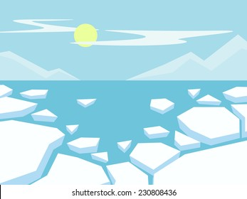 Northern landscape with mountains and ice floes.