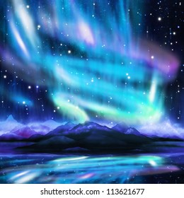 northern lights ,aurora borealis ,dramatic landscape