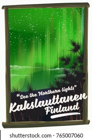 northern lights Kakslauttanen Finland vacation poster.