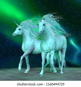Northern Lights Unicorns 3D illustration - The Unicorn is a mythical creature that has a horse body with forehead horn and cloven hooves.