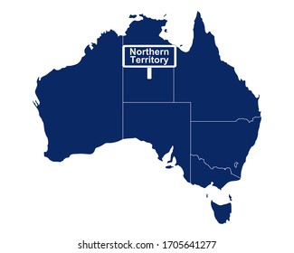 Northern Territory with map of Australia and road sign