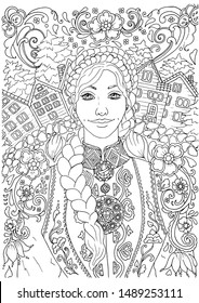 Norvegian scandinavian woman in traditional dress with ethnic background ornaments,  adult coloring book page