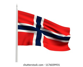 Norway flag floating in the wind with a White sky background. 3D illustration.