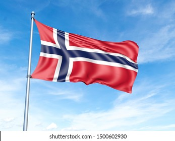 Norway flag on a pole, waving, against a blue sky background - 3D illustration.