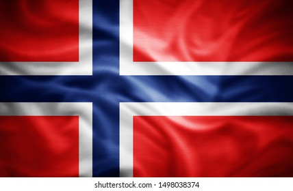 Norway flag of silk -3D illustration
