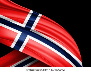 Norway  flag of silk with copyspace for your text or images and black  background -3D illustration