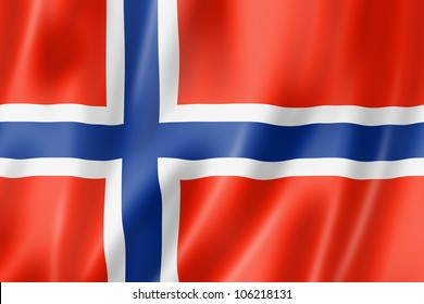 Norway flag, three dimensional render, satin texture