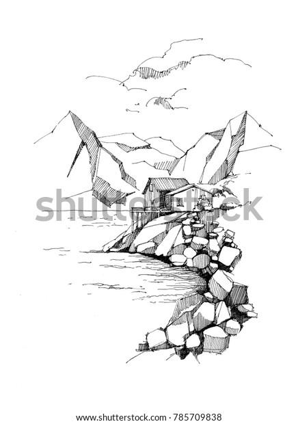 Norway landscape sketch