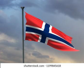 Norway National Flag, 3D Render