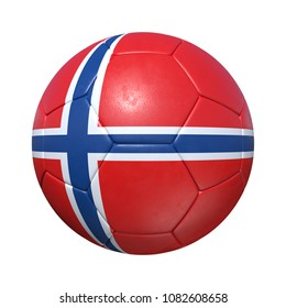 Norway Norwegian soccer ball with national flag. Isolated on white background. 3D Rendering, Illustration.