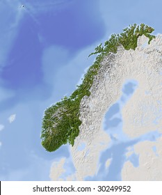 Norway. Shaded relief map. Surrounding territory greyed out. Colored according to vegetation. Includes clip path for the state area.