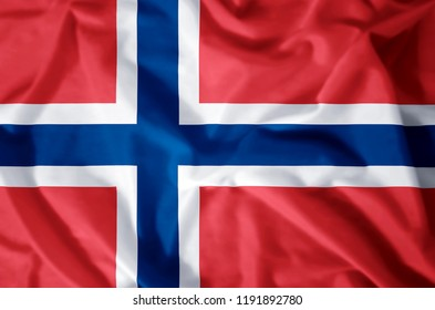 Norway stylish waving and closeup flag illustration. Perfect for background or texture purposes.