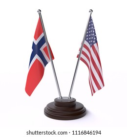 Norway and USA, two table flags isolated on white background. 3d image