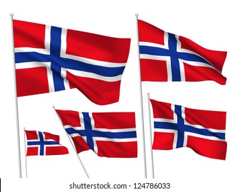 Norway vector flags set. 5 wavy 3D cloth pennants fluttering on the wind. EPS 8 created using gradient meshes isolated on white background. Five fabric flagstaff design elements from world collection