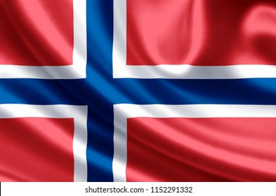 Norway waving and closeup flag illustration. Perfect for background or texture purposes.