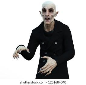 Nosferatu the vampire with white background