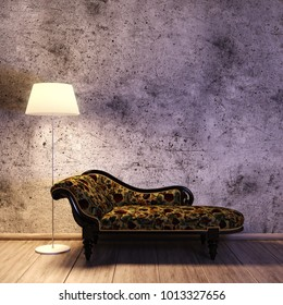 Nostalgic curved sofa in front of concrete wall with floor lamp on wooden floor (3d rendering)