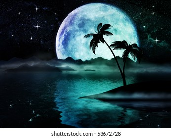 Nostalgic dreamland with big moon over the sea