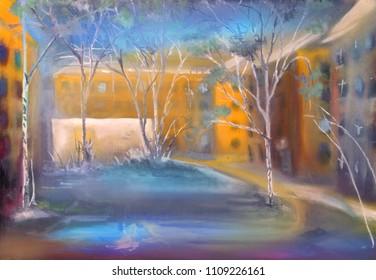 nostalgic sketch of the forgotten yard, oil painting artwork