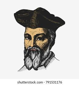 Nostradamus fortune teller, famous predictor. Hand drawn  illustration