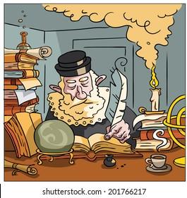 Nostradamus writing the future