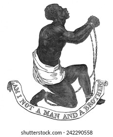 Am I not a man and a brother'? Society for the Abolition of Slavery in England in the 1780s. This woodcut accompanied John Greenleaf Whittier's anti slavery poem, 'Our Countrymen in Chains' of 1837.